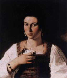 Michelangelo Merisi da Caravaggio. Portrait of a Courtesan,1597.