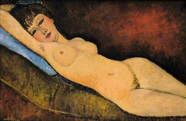 Amedeo Modigliani. Reclining Nude with a Blue Cushion, 1916.